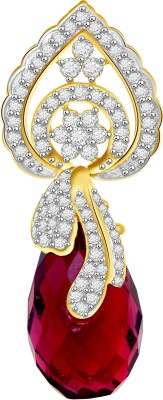 Vijisan 20.55 Ct.Charming Red Dangle 18K Yellow Gold Cubic Zirconia, Ruby Sterling Silver Pendant at flipkart