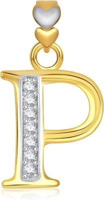 VK Jewels Alphabet Collection Initial Letter T Gold-plated Cubic Zirconia Alloy Pendant