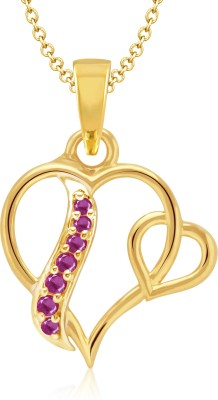 VK Jewels Dual Heart Gold-plated Cubic Zirconia Alloy Pendant
