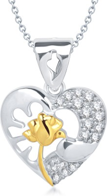 VK Jewels Rose in Heart Shape Rhodium Cubic Zirconia Alloy Pendant