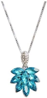 GirlZFashion Leaf Crystal Silver Plated Pendant Alloy, Metal, Crystal