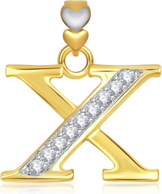 VK Jewels Alphabet Collection Initial Letter X 18K Yellow Gold Cubic Zirconia Alloy Pendant