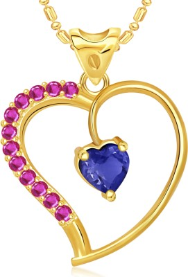 VK Jewels Beautiful Blue Stone Heart Valentine Gold-plated Cubic Zirconia Alloy Pendant