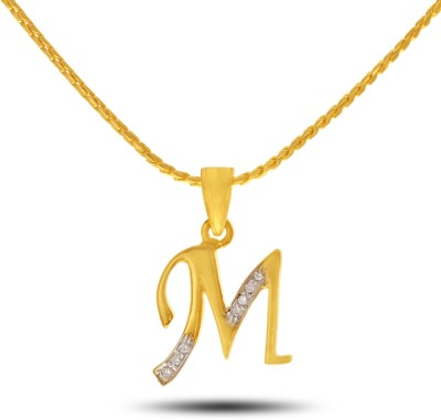 P.N.Gadgil Jewellers The 'M' 18kt Diamond Yellow Gold Pendant(Yellow Gold Plated) at flipkart