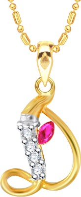 VK Jewels Initial Letter D Ganesh Gold-plated Cubic Zirconia Alloy Pendant