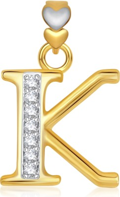 VK Jewels Alphabet Collection Initial Letter K 18K Yellow Gold Cubic Zirconia Alloy Pendant