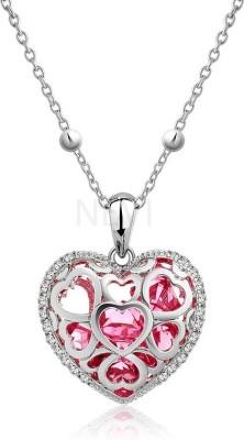 Nevi Small Blue Heart Rhodium Swarovski Crystal Alloy, Crystal Pendant