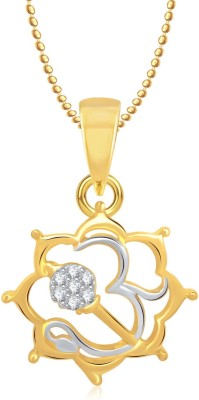 Meenaz Om God Pendant With Chain Gifts Jewellery Set Gold-plated, Brass Cubic Zirconia, Diamond Alloy Pendant