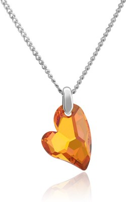 Mahi Devoted 2 U Heart Rhodium Swarovski Crystal Brass, Alloy Pendant at flipkart