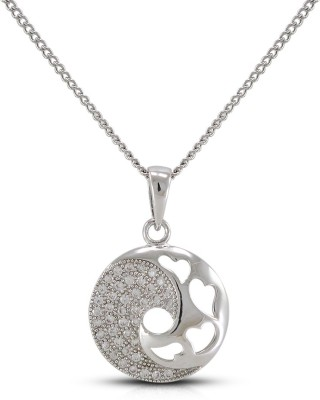 Fabfashion Heart In Circle Yellow Gold Cubic Zirconia Alloy Pendant at flipkart