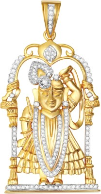 Vijisan 1.82 Ct.Lord Krishna Religious Yellow Gold Cubic Zirconia Sterling Silver Pendant at flipkart