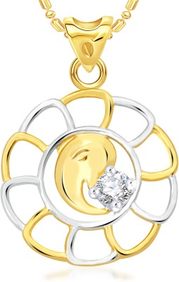 VK Jewels Om Ganesh 18K Yellow Gold Cubic Zirconia Alloy Pendant