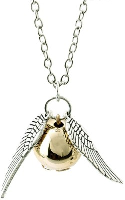 UNIQUEGIFTS2015 New Harry Potter Golden Snitch Wing Golden Quidditch Pendant Necklace Chain Alloy