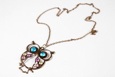 AMNOR Retro classic Bronze Owl Grey Acrylic, Alloy Pendant