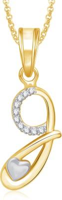 Meenaz G 18K Yellow Gold Cubic Zirconia Brass, Alloy Pendant