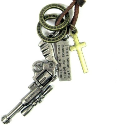 Streetsoul Metal Gun Leather Necklace Alloy Pendant