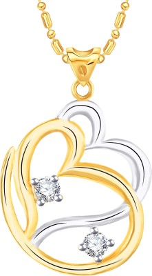 VK Jewels Heart With Om 14K Yellow Gold Cubic Zirconia Alloy Pendant