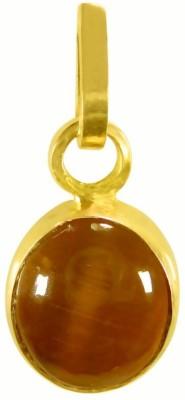 Tejvij and sons 8.25 Ratti Original Lehsuniya Cats Eye Gold Plated Panchdhatu Pendent for Men & Women Yellow Gold Cat