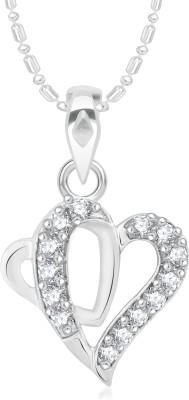 VK Jewels Loving Tiffany Heart Rhodium Cubic Zirconia Alloy Pendant
