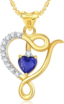 VK Jewels Blue Stone Double Heart Valentine Gold-plated Cubic Zirconia Alloy Pendant