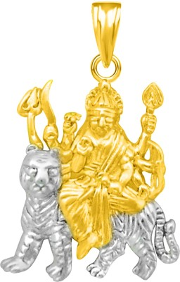The Marketvilla Sherawali Ambe Maa Durga Ma Laxmi Maata Trishul Goddess Gold Plated Devi God Locket For Man Woman Boys & Girls Rhodium Cubic Zirconia Silver, Sterling Silver Pendant