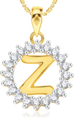 VK Jewels Initial Letter Z Gold-plated Cubic Zirconia Alloy Pendant