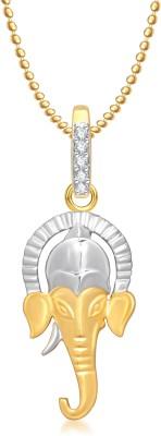 Meenaz Ganesha God Pendant With Chain Gifts Jewellery Set Brass, Yellow Gold Cubic Zirconia, Diamond Alloy Pendant