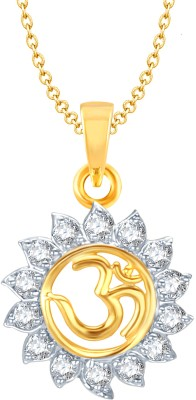 Meenaz Om Yellow Gold God With Chain In American Diamond Cz Gifts Jewellery Set Gold-plated, Brass Cubic Zirconia, Diamond Alloy Pendant