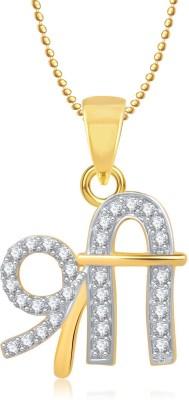 Meenaz Ganesha Ganpati Yellow Gold God With Chain Cz Gifts Jewellery Set Gold-plated, Brass Diamond, Cubic Zirconia Alloy Pendant