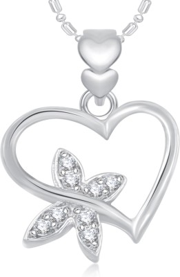 VK Jewels Heart Design Rhodium Plated Rhodium Alloy Pendant