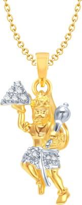 Meenaz Hanuman Bajrangi Yellow Gold God With Chain In American Diamond Cz Gifts Jewellery Set Gold-plated, Brass Cubic Zirconia, Diamond Alloy Pendant