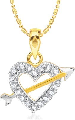 VK Jewels Three Heart Valentine 18K Yellow Gold Cubic Zirconia Alloy Pendant