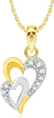 VK Jewels Interlocked Heart Valentine 18K Yellow Gold Cubic Zirconia Alloy Pendant