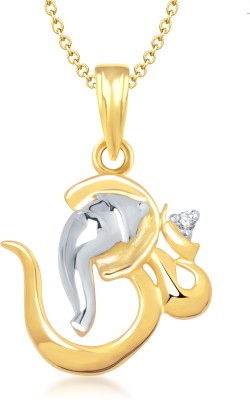 Meenaz Om Yellow Gold God With Chain Cz Gifts Jewellary Set Gold-plated, Brass Cubic Zirconia, Diamond Alloy Pendant
