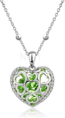 Nevi Purple Heart Rhodium Swarovski Crystal Alloy, Crystal Pendant