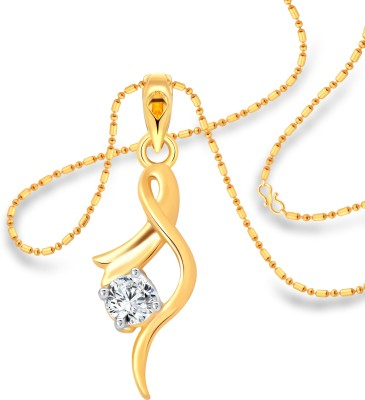 Vighnaharta Youthful Solitaire 18K Yellow Gold Cubic Zirconia Alloy Pendant