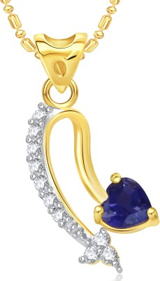 VK Jewels Blue Heart Stone Valentine Gold-plated Cubic Zirconia Alloy Pendant