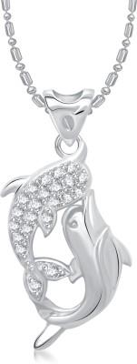 VK Jewels Dual Dolphin Rhodium Diamond Alloy Pendant