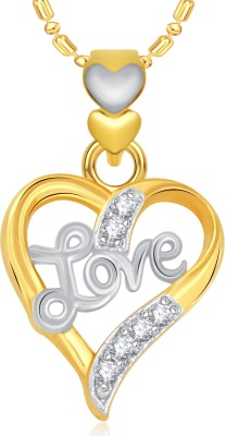 VK Jewels Love Heart Valentine 18K Yellow Gold Cubic Zirconia Alloy Pendant