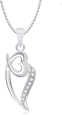 Meenaz Heart Pendant Locket With Chain For Women Love Valentine Gifts Brass Cubic Zirconia Alloy Pendant  available at flipkart for Rs.280