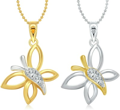 Vighnaharta Angel Butterfly Selfie 18K Yellow Gold, 18K White Gold Cubic Zirconia Alloy Pendant Set at flipkart