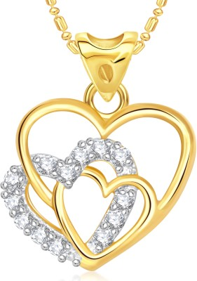 VK Jewels Three Heart Valentine Gold-plated Cubic Zirconia Alloy Pendant