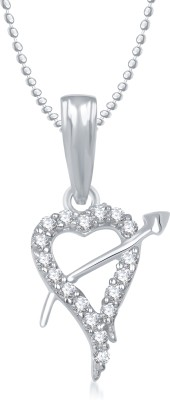 Meenaz Heart Pendant Locket With Chain For Women Love Valentine Gifts Brass Cubic Zirconia, Diamond Alloy Pendant  available at flipkart for Rs.265
