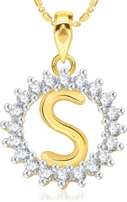 VK Jewels Initial Letter S 18K Yellow Gold Cubic Zirconia Alloy Pendant