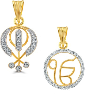 Vighnaharta 18K Yellow Gold Cubic Zirconia Alloy Pendant at flipkart