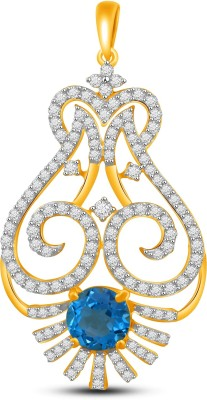 Vijisan 3.19 Ct.Designer Sparkle Blue Stone Gold-plated Cubic Zirconia, Sapphire Sterling Silver Pendant