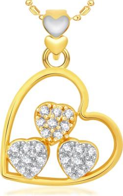 VK Jewels Three Heart I LOVE U Valentine Gold-plated Cubic Zirconia Alloy Pendant