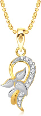 VK Jewels Admirable Leaf Yellow Gold Cubic Zirconia Alloy Pendant