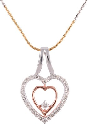 Wite&Gold Cupid Two-Tone 18K Rose Gold, 18K White Gold Diamond Yellow Gold Pendant