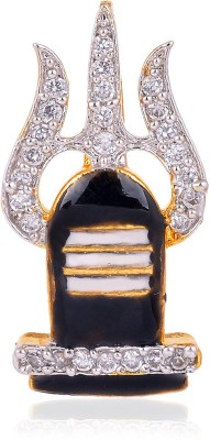 Shiv Jagdamba Religious Jewellery Cubic Zircon Crystal Lord Shiva Pind Trishul With Rudhrasha Locket Gold-plated Crystal Metal, Alloy Pendant